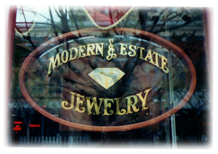 Modern & Estate Jewelry sign and gem design in Santa Monica, CA by Dennis Knicely, master gold leaf sign and design artist